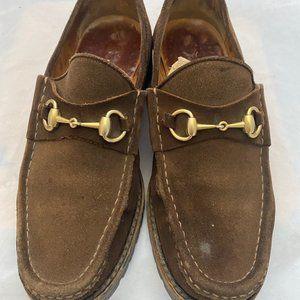 Gucci Brown Suede Horsebit Loafers - Men's Sz 9